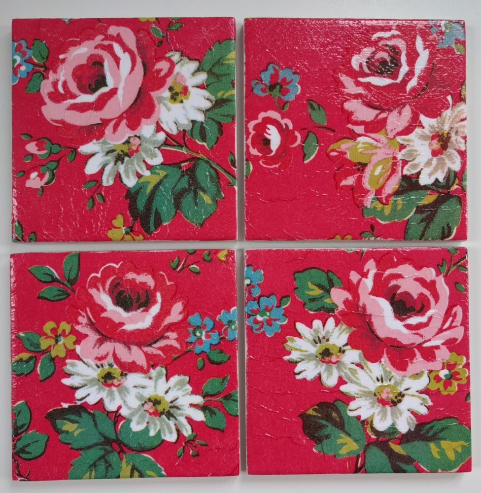 4 Ceramic Coasters In Cath Kidston Kentish Rose Red
